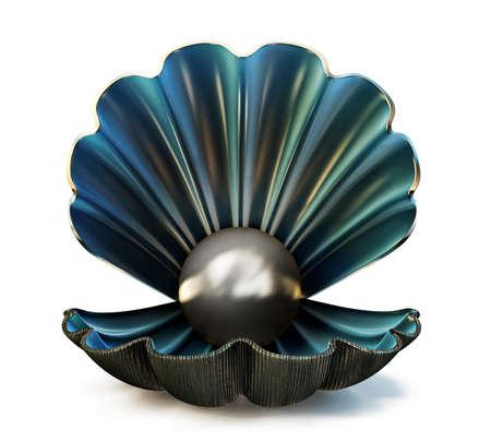 concha de perla aislado en un blanco. Ilustración 3d