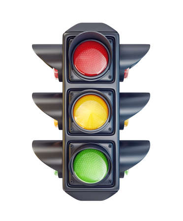traffic light isolated on a white background. 3d illustration Archivio Fotografico