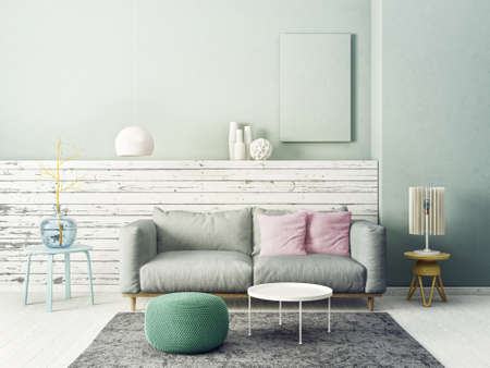 Illustration   Modern Living Room With Grey Sofa And Lamp. Scandinavian  Interior Design Furniture. 3d Render Illustration