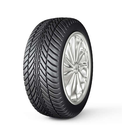 car wheel isolated on a white. 3d illustration