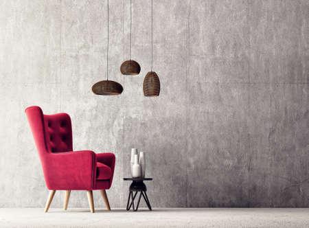 modern living room  with  red armchair and lamp. scandinavian interior design  furniture. 3d render illustration Stok Fotoğraf