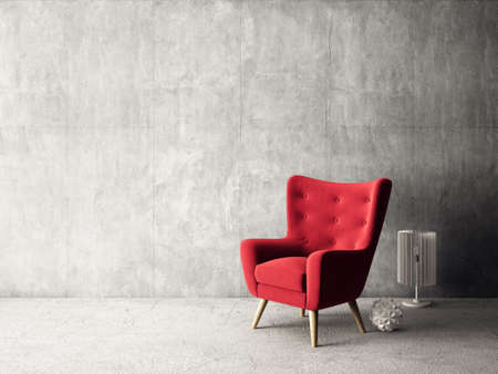 modern living room  with  red armchair and lamp. scandinavian interior design  furniture. 3d render illustration Stock Photo