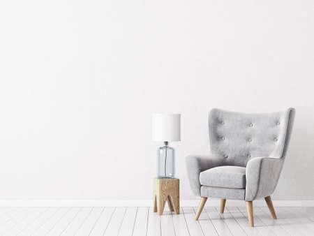 moderne woonkamer met grijze fauteuil en lamp. Scandinavische interieurmeubels. 3D render illustratie