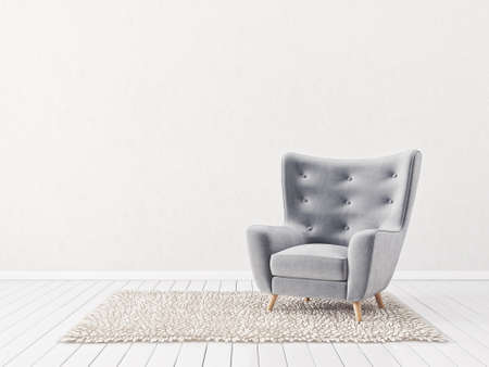 modern living room  with armchair. scandinavian interior design  furniture. 3d render illustration Stock fotó