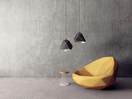 modern living room  with armchair. scandinavian interior design  furniture. 3d render illustration
