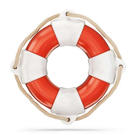 reddingsboei geïsoleerd op een witte. 3D illustratie