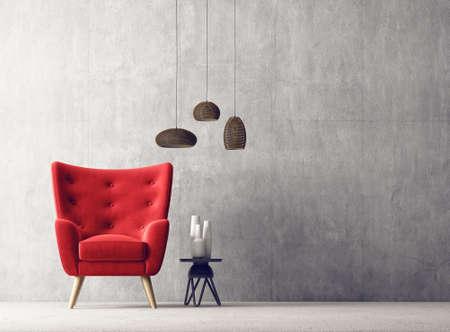 modern living room. scandinavian interior design furniture. 3d illustration Stok Fotoğraf - 94280694