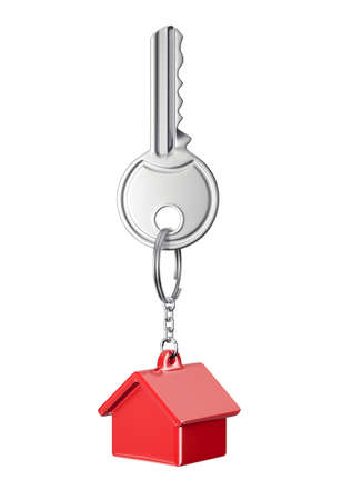 red key house trinket isolated on a white. 3d illustration Imagens