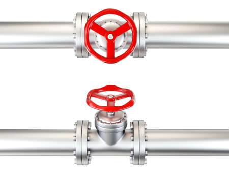 valve in pipe islated on a white. 3d illustration Stock Photo