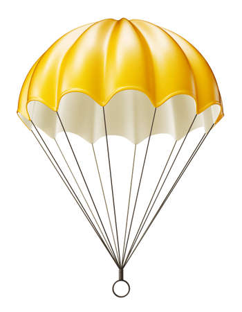 yellow parachute isolated on a white. 3d illustration Stock Photo