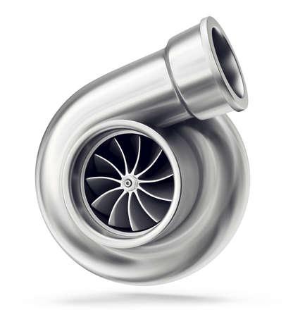 car turbine isolated on a white. 3d interior Stock Photo