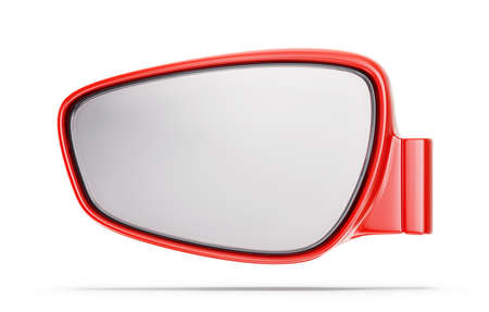 red car mirror isolated on a white. 3d illustration Stock Photo