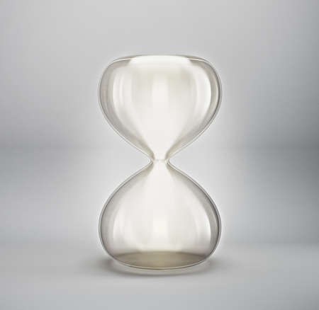 empty hourglass isolated on grey. 3d illustration