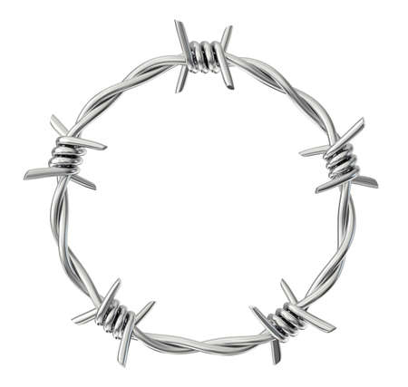 circle  barbed wire isolated on a white. 3d illustration