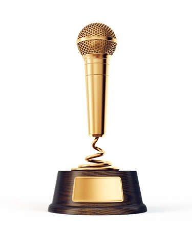 golden microphone award isolated on a white. 3d illustration Foto de archivo