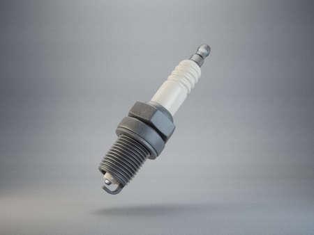 spark plug isolated on grey background. 3d illustration Stock Photo