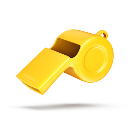 yellow whistle isolated on awhite. 3d illustration