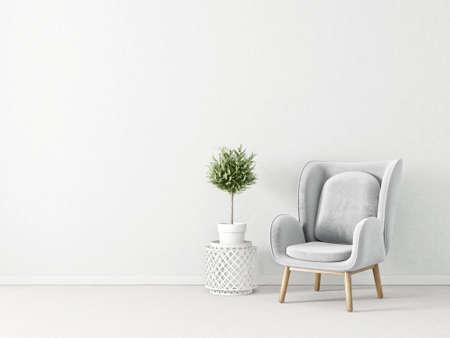 modern living room  with grey armchair. scandinavian interior design furniture. 3d render illustration