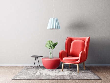 modern living room  with red armchair and lamp. scandinavian interior design furniture. 3d render illustration Stok Fotoğraf - 104917524