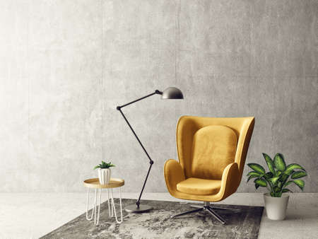 modern living room  with yellow armchair and lamp. scandinavian interior design furniture. 3d render illustration Banco de Imagens