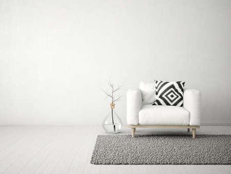 modern living room  with  armchair. scandinavian interior design furniture. 3d render illustration Stockfoto