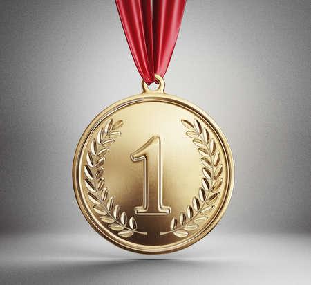 goldene Medaille auf einem grauen isoliert. 3D-Darstellung Standard-Bild