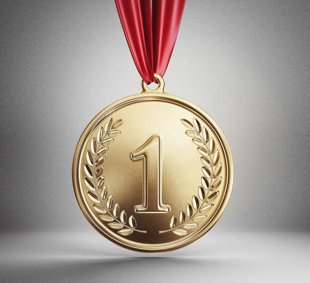 golden medal isolated on a grey. 3d illustration