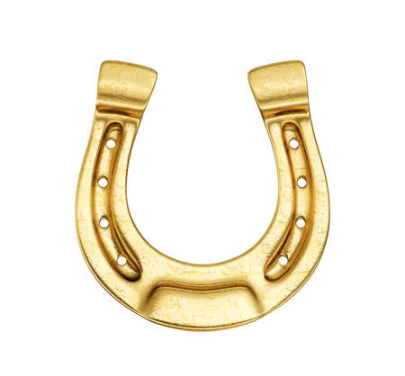 golden horseshoe isolated on a white. 3d illustration