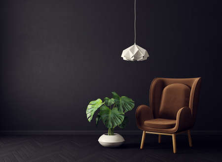 modern living room  with brown armchair and lamp. scandinavian interior design furniture. 3d render illustration