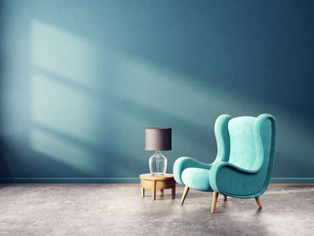 modern living room  with blue armchair and lamp. scandinavian interior design furniture. 3d render illustration