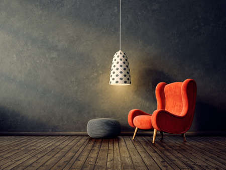 modern living room  with red armchair and lamp. scandinavian interior design furniture. 3d render illustration