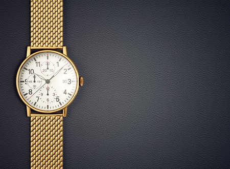 golden watch. time accessory isolated on black. 3d illustration
