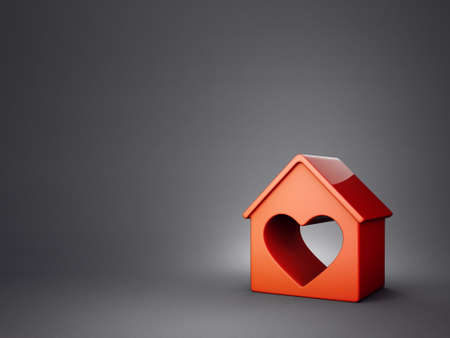 red house isolated on a grey background.3d illustration