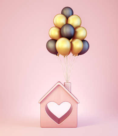 pink dream house isolated. 3d illustration Reklamní fotografie