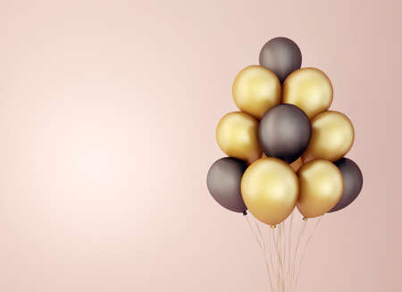 black and yellow balloon isolated on pink. 3d illustration Reklamní fotografie