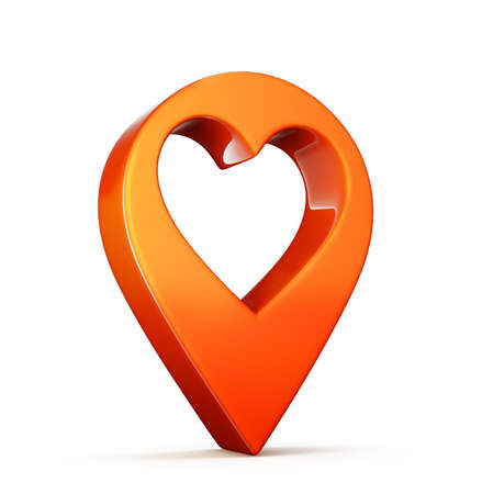 location point with heart isolated. 3d illustration Reklamní fotografie