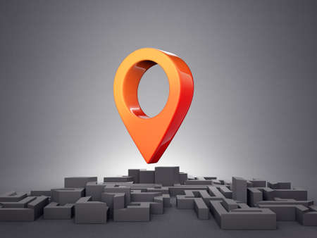 location pin in the city. 3d illustration