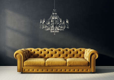 modern living room  with yellow sofa and chandelier. scandinavian interior design furniture. 3d render illustration