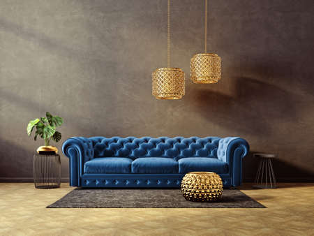 modern living room  with blue sofa and lamp. scandinavian interior design furniture. 3d render illustration