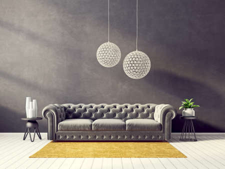 modern living room  with gry sofa and lamp. scandinavian interior design furniture. 3d render illustration