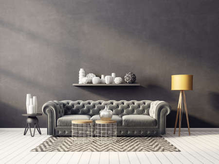 modern living room  with yellow lamp and grey sofa. scandinavian interior design furniture. 3d render illustration