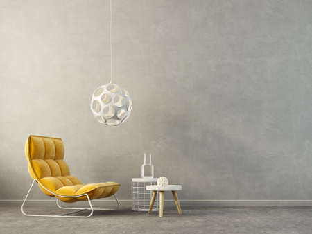modern living room  with yellow armchair and lamp. scandinavian interior design furniture. 3d render illustration Reklamní fotografie