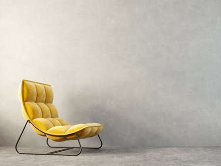 modern living room  with yellow armchair . scandinavian interior design furniture. 3d render illustration
