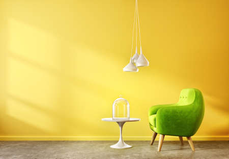 modern living room  with yellow wall and green armchair. scandinavian interior design furniture. 3d render illustration Reklamní fotografie