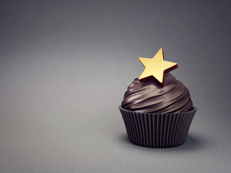 delicious cupcake isolated on grey. 3d illustration