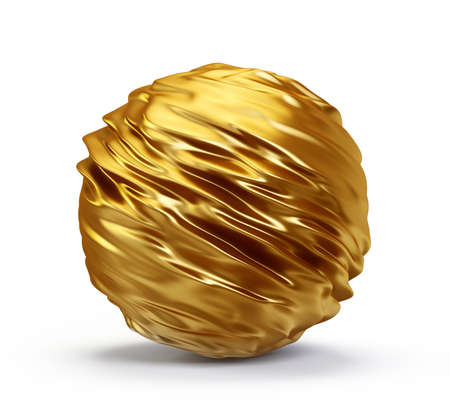 golden sphere candy  isolated on a white. 3d illustration