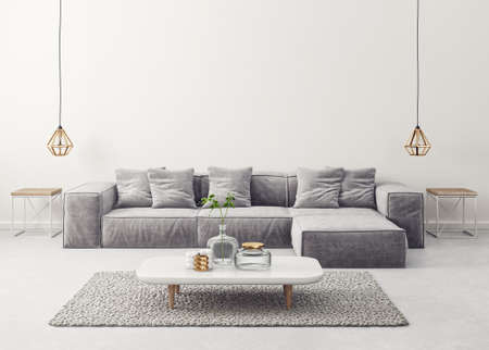 modern living room  with grey sofa and lamp. scandinavian interior design furniture. 3d render illustration Reklamní fotografie
