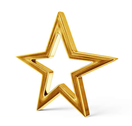 golden star isolated on a white background. 3d illustration Reklamní fotografie