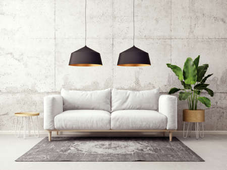 modern living room  with sofa and lamp. scandinavian interior design furniture. 3d render illustration Reklamní fotografie