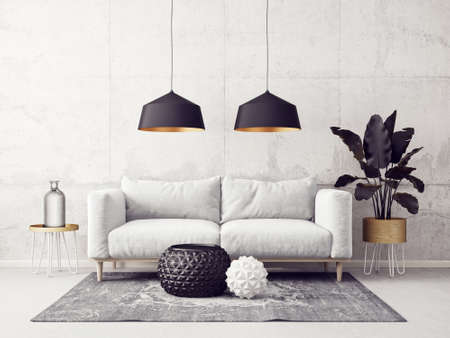 modern living room  with sofa and black lamp. scandinavian interior design furniture. 3d render illustration